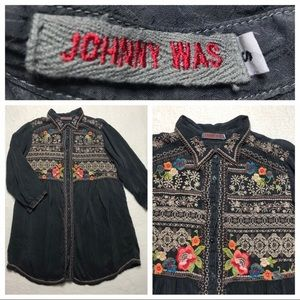 Johnny Was Shirt Top S Embroidered Charcoal Gray